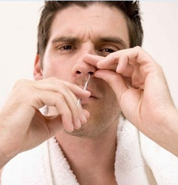 como depilar la nariz tijera